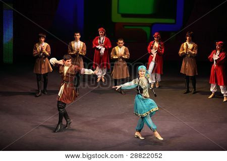MOSCOW - MARCH 17: Folk dance at concert of Gennady Ledyakh School of Classical Dance in theater Et Cetera, on March 17, 2011 in Moscow, Russia. Concert held for winners in competition.