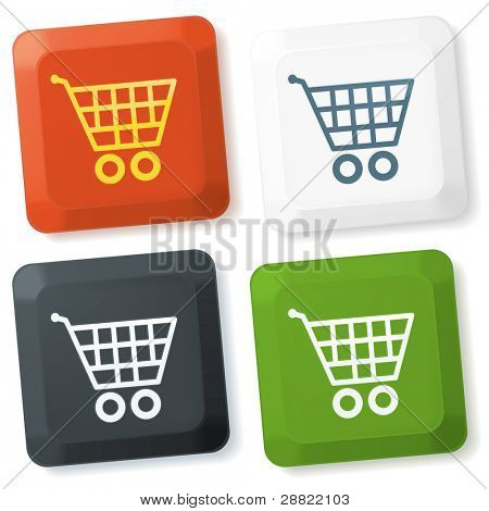 Set of vector color keyboard buttons with shopping cart sign