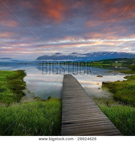 jetty in beautiful norway scenery