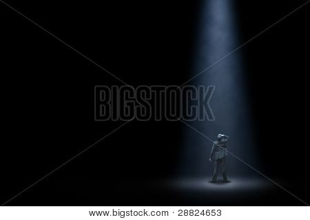 Lonely man in night