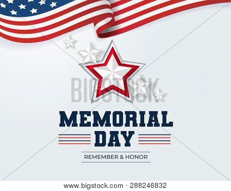 poster of Happy Memorial Day Background. National American Holiday Illustration. Vector Memorial Day Greeting