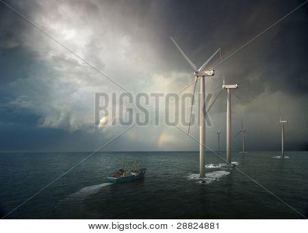 Windmill in ocean. Storm rising