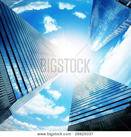 Modern buildings with sun