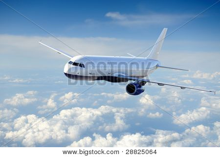 Airplane in the cloudy sky - Passenger Airliner / aircraft