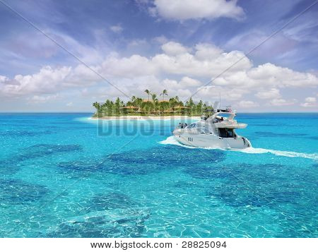 Caribbean paradise with yacht / boat / ship in foreground