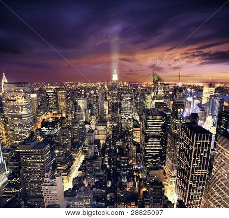 Big Apple after sunset - new york manhattan at night