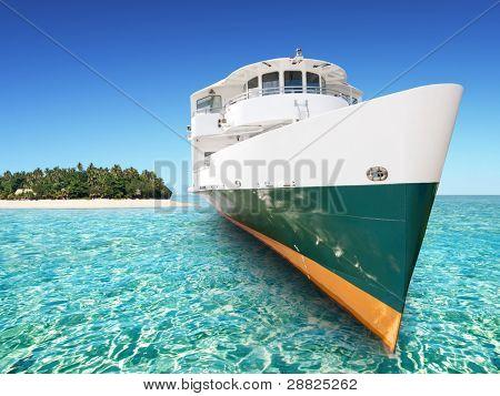 Caribean island and boat