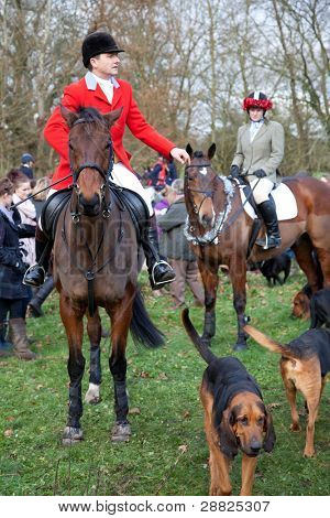 BERKSHIRE - DECEMBER 26: Hunt riders straddles their horses at the Stanford Dingley Boxing Day Hunt on December 26, 2011 in Berkshire.