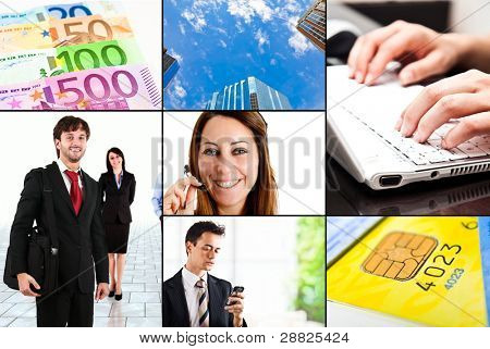 Collage of business and finance related images