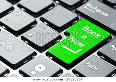 Book it now button on computer keyboard