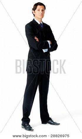 voller Länge Portrait of eine arrogante caucasian businessman