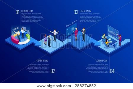 poster of Isometric Concept Of Analytics, Strategy, Investment, Management, Investment, And Virtual Finance. C