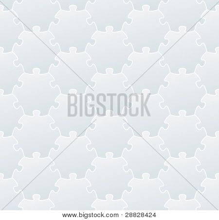 White jigsaw puzzle background (editable seamless pattern)