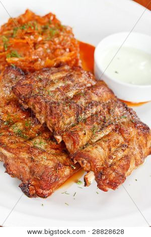 Ribs with smoky spicy sauce