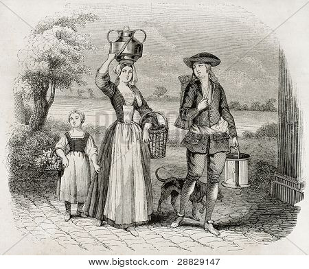 Wafers merchant old illustration. After 17th century old print, published on Magasin Pittoresque, Paris, 1845