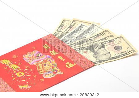 Perspective of Money Dollar Cash Banknote in Red Envelope on White Background using for Chinese New Year Celebration Concept