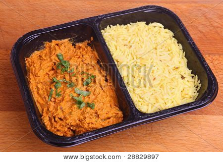 Indian chicken tikka masala curry with rice ready meal