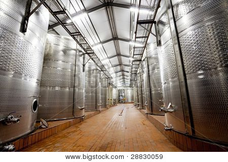 modern wine factory with large tanks