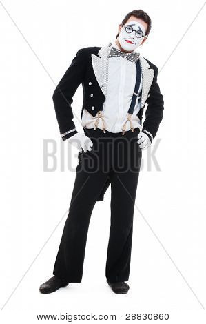 portrait of mime in tailcoat. isolated on white background