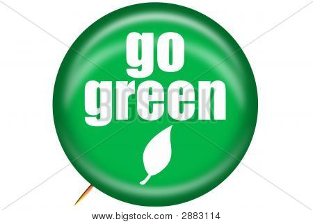 Go Green Button With Leaf