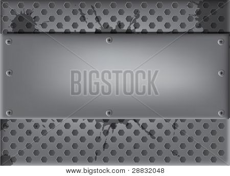 illustration with grey metal panel with screws