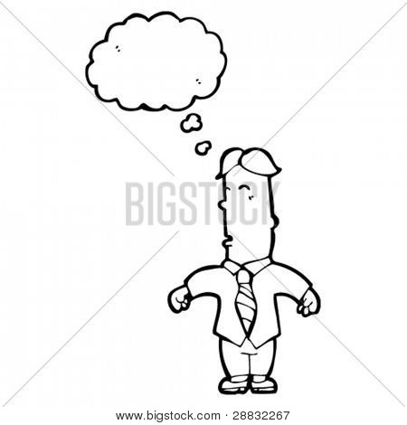 man with thought bubble cartoon