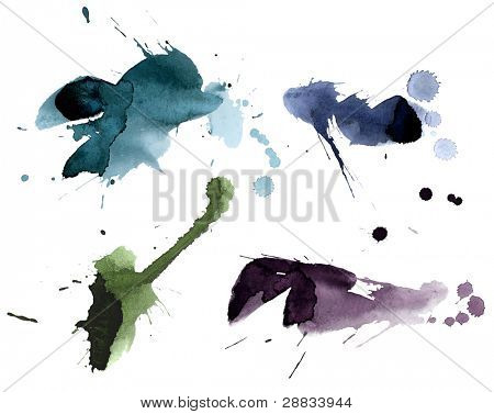 collection of ink splashes