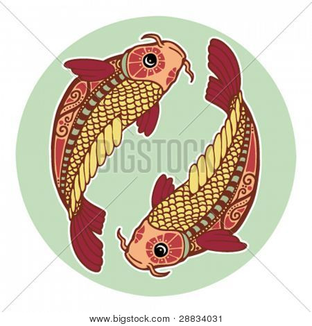 Zodiac signs - Pisces (colored)