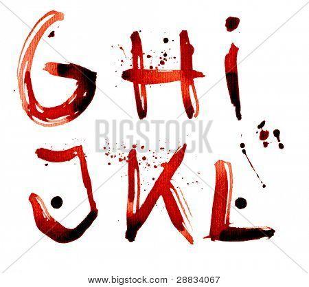 Grunge alphabet G-L