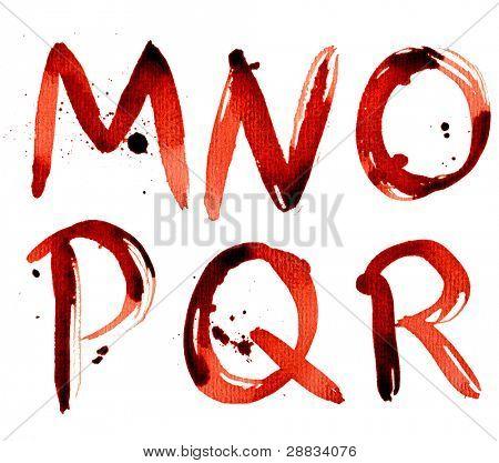 Grunge alphabet M-R
