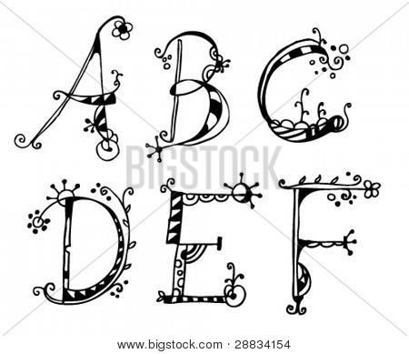 doodle alphabet a-f