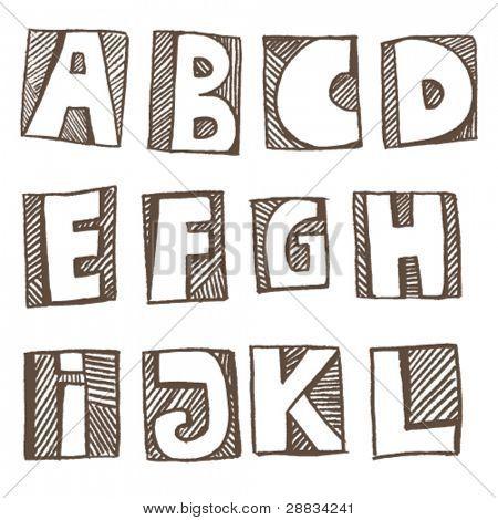Doodle alphabet a-l