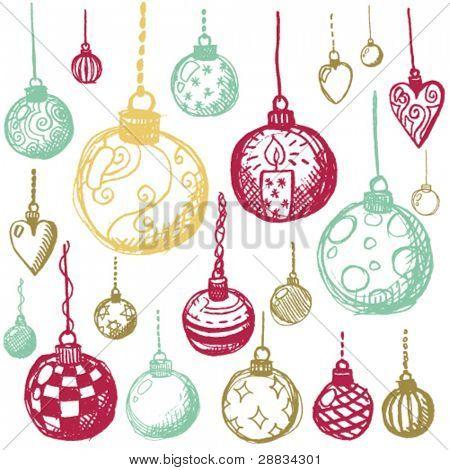 doodle set - christmasballs