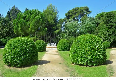 BARCELONA, SPAIN - AUGUST 18: Gardens of Palau de Pedralbes on August 18, 2011 in Barcelona, Spain. From 1919 to 1931 was the residence for the Spanish Royal Family when they visited the city