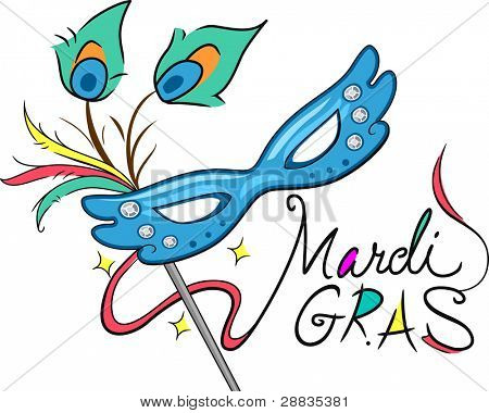 Illustration of a Mardi Gras Mask