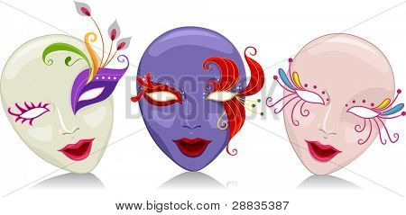 Illustration Featuring Mardi Gras Masks