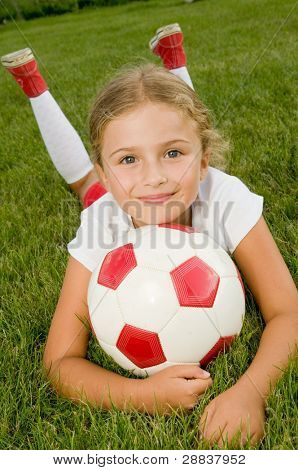 Soccer - Portrait of little girl soccer player