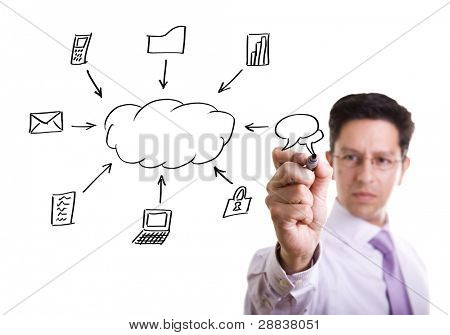 Businessman writing a cloud computing diagram on the whiteboard (selective focus)