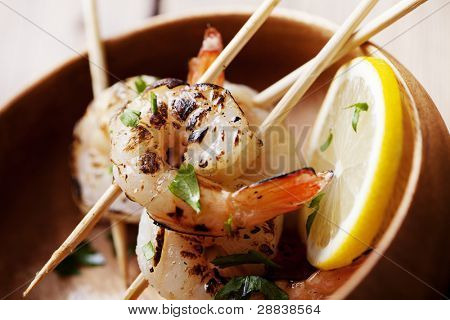 fresh grilled shrimps close up