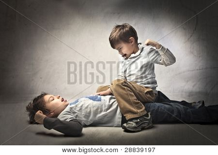 Two young brothers quarreling