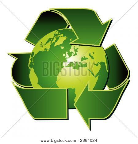 Recycle Symbol With Globe Over White