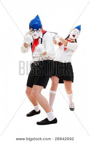 portrait of mimes. man protecting his woman. isolated on white background