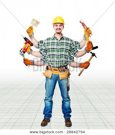 handyman with six arms ready for work