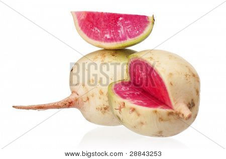 Sliced fresh radish isolated on white background