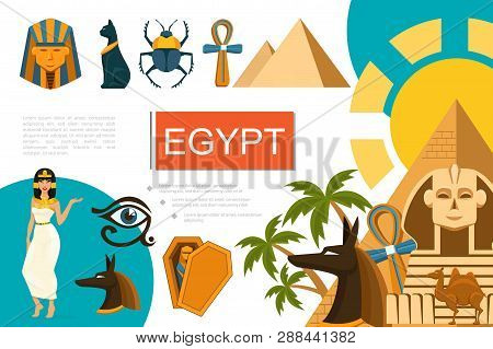 Flat Egypt Symbols Composition With