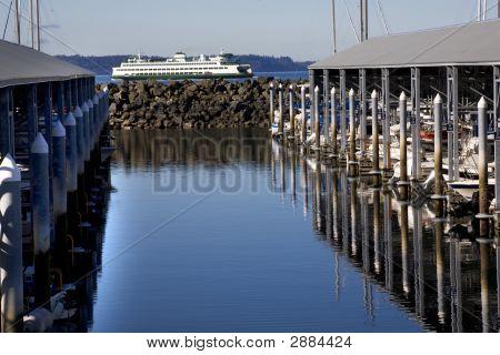Marina Ferry Boat Reflections Edmonds Washington