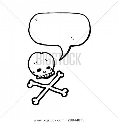 skull and crossbones cartoon with speech bubble