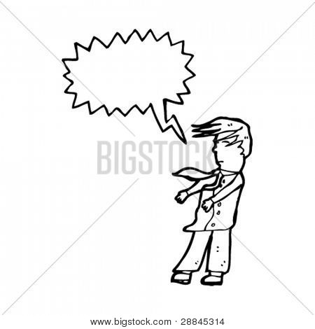 man with shirt and tie blowing in wind cartoon