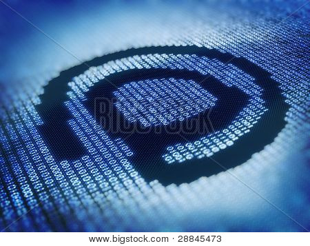 Internet At Sign - Designed with Pixellated Binary Code - 3d Render