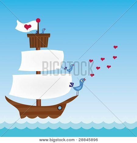 ship with three singing birds in sea